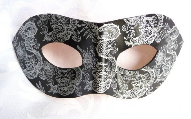 Exclusive Genuine Handmade Leather  Silver & Black Dragon Mask